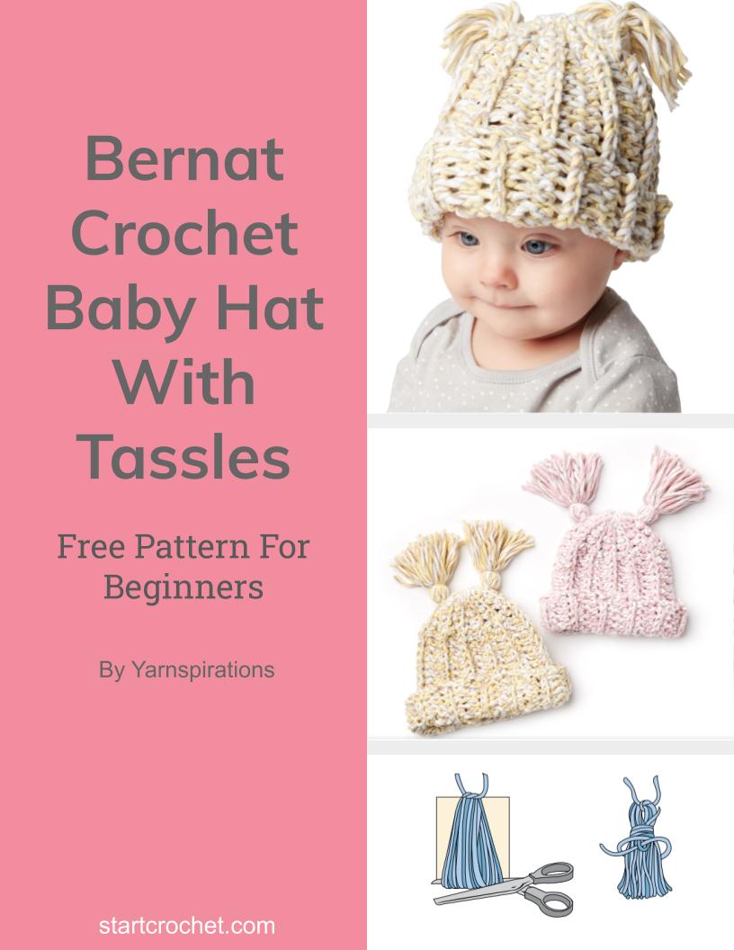 Bernat Crochet Baby Hat With Tassles - Start Crochet