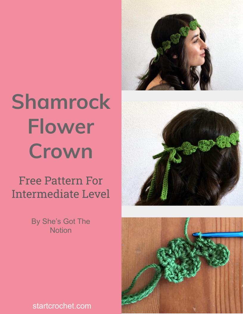 Shamrock Flower Crown Free Crochet Pattern - Start Crochet