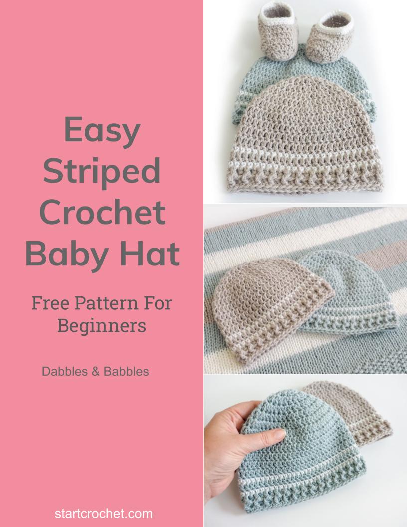 Easy Striped Crochet Baby Hat - Start Crochet