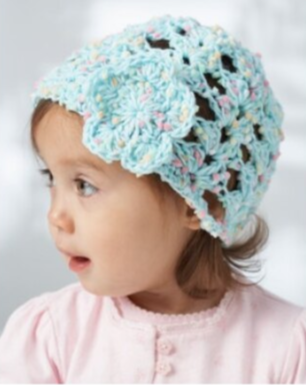 Lacy Shells Baby Hat in Bernat Dippity Dots - Start Crochet