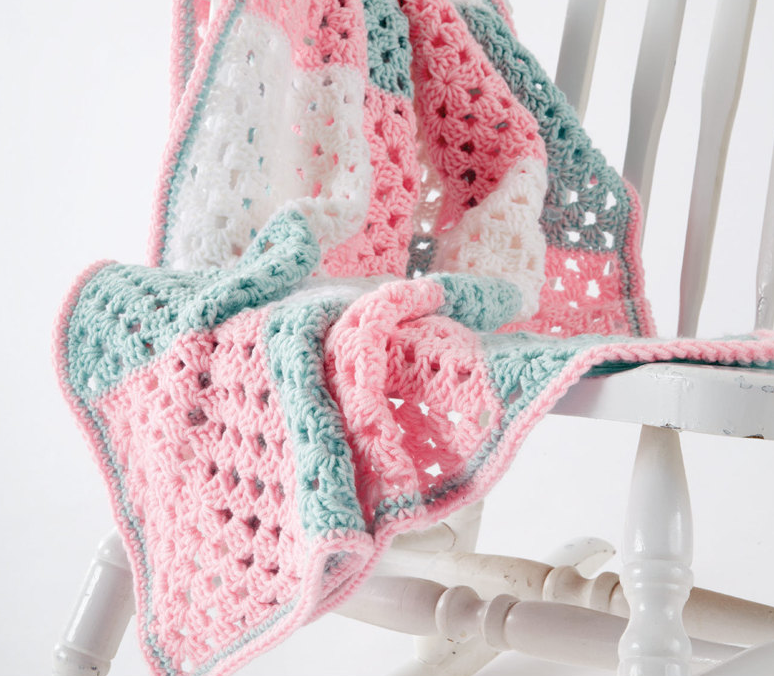 Springtime Squares Crochet Baby Blanket in Caron One Pound - Start Crochet