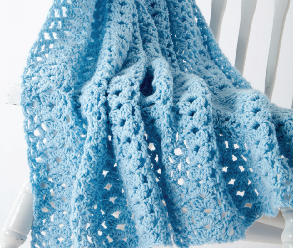 Cluster Waves Crochet Baby Blanket in Caron One Pound - Start Crochet