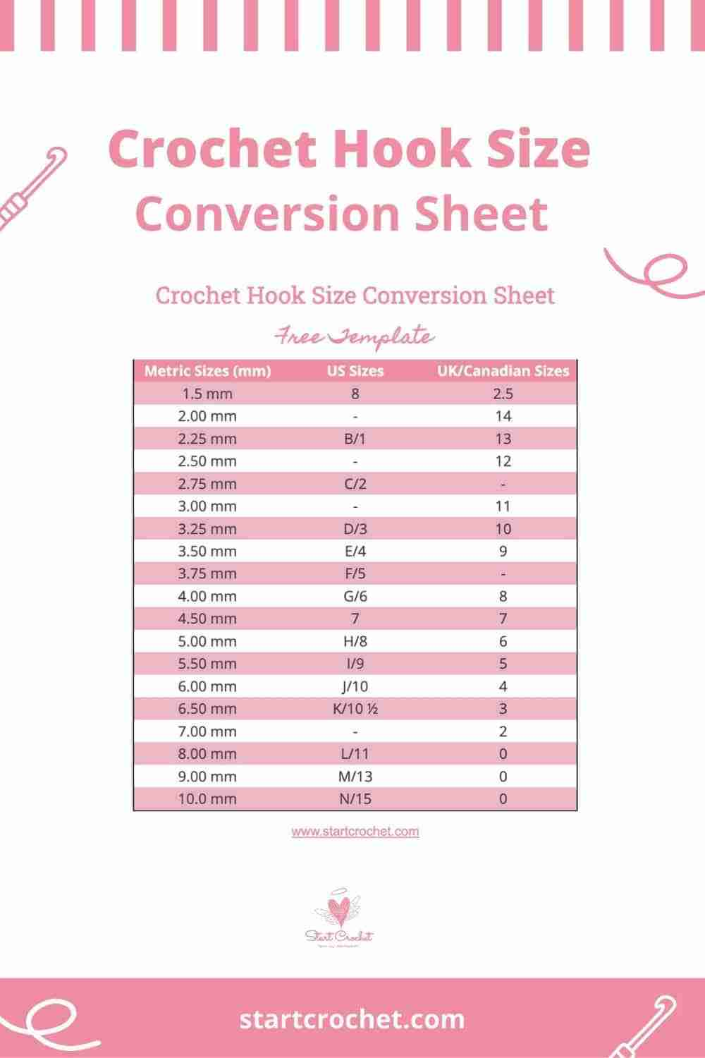 Crochet Hook Size Conversion Sheet Start Crochet