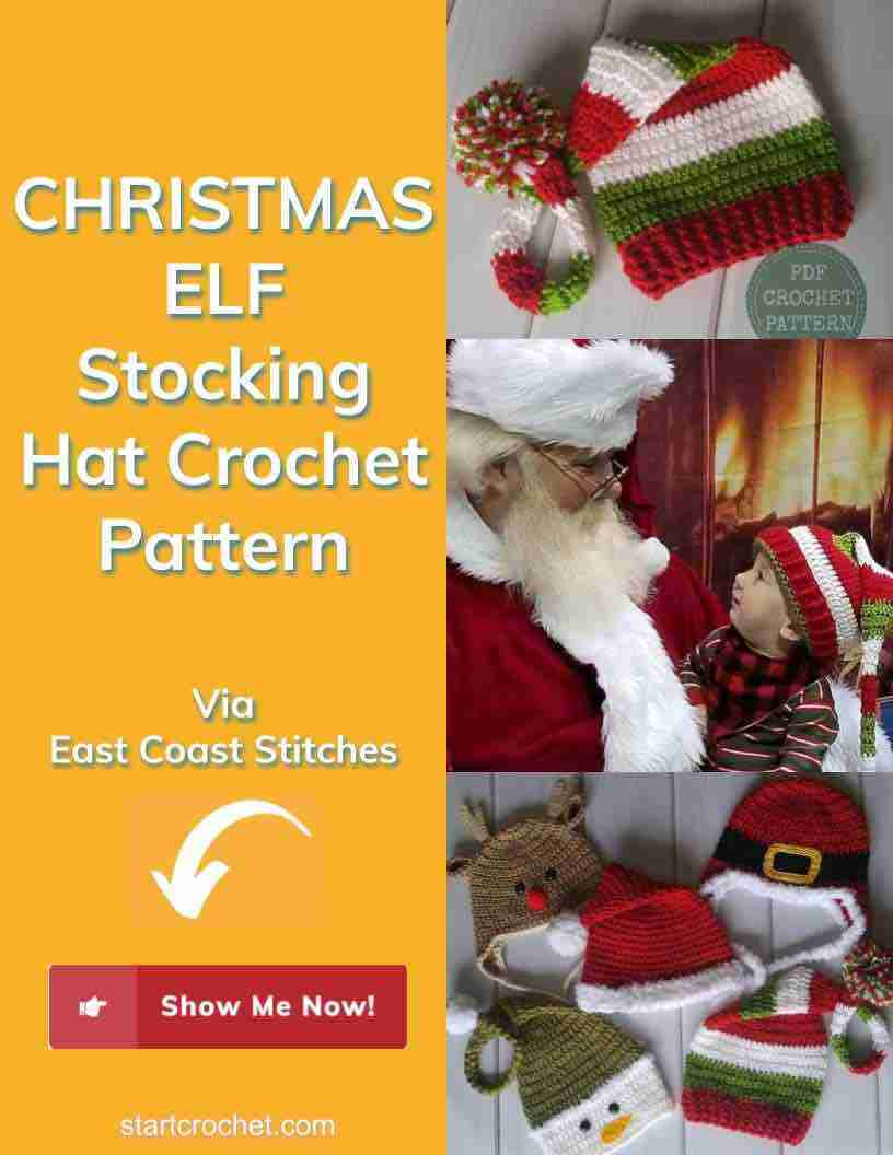Christmas Elf Stocking Hat Crochet Pattern Start Crochet