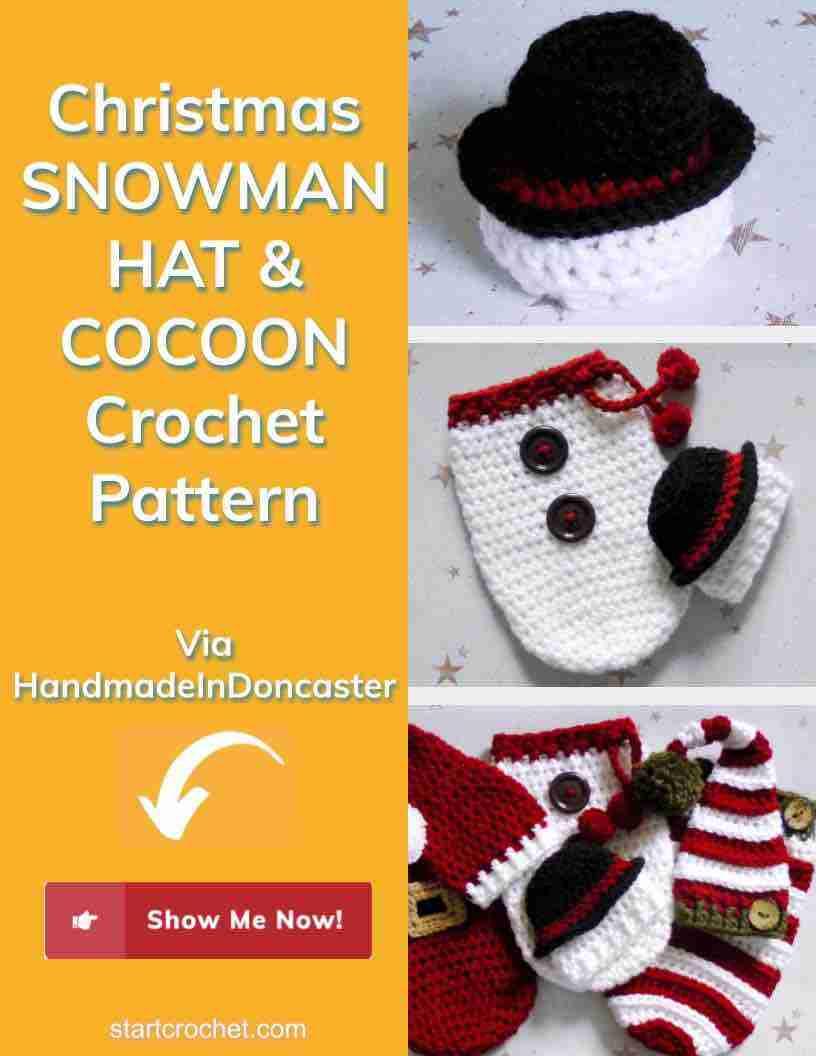 Christmas Snowman Hat & Cocoon Crochet Pattern Start Crochet