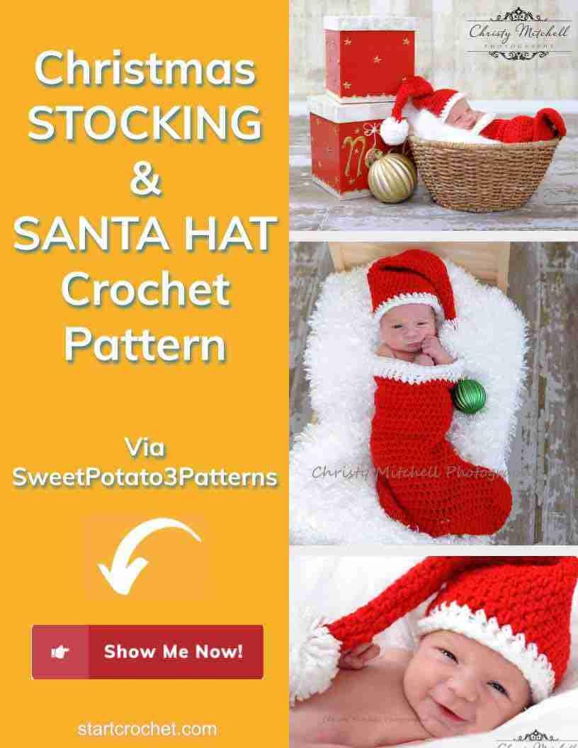 Christmas Stocking & Santa Hat Crochet Pattern Start Crochet