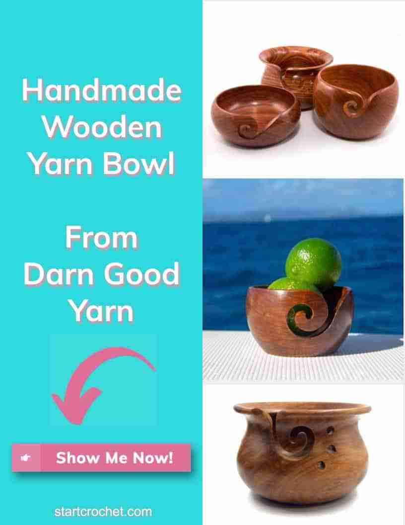 Handmade Wooden Yarn Bowl Darn Good Yarn Start Crochet