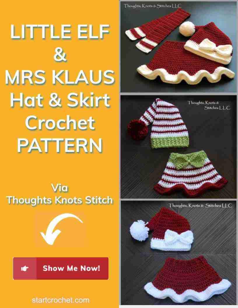 Little Elf & Mrs Klaus Hat & Skirt Crochet Pattern Start Crochet