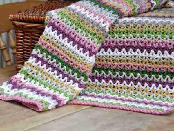 V Stitch Blanket Free Crochet Pattern By Hanjan Crochet Start Crochet