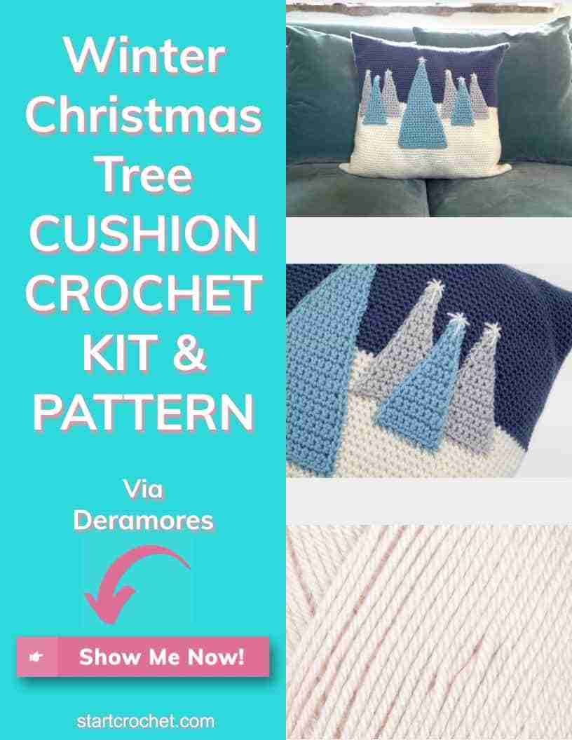 Winter Christmas Tree Cushion Crochet Kit & Pattern Via Deramores (1)