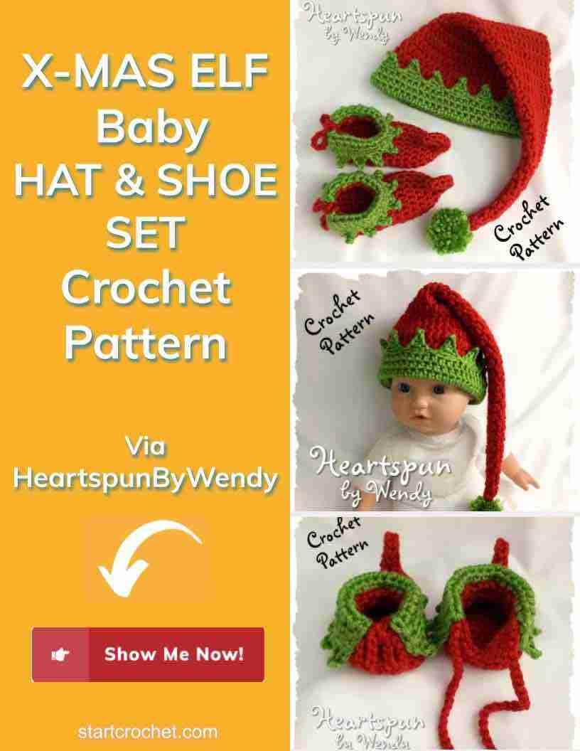X Mas Elf Baby Hat & Shoe Set Crochet Pattern Start Crochet