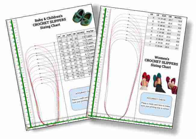 Crochet Slippers Sizing Template (women & Children) Start Crochet