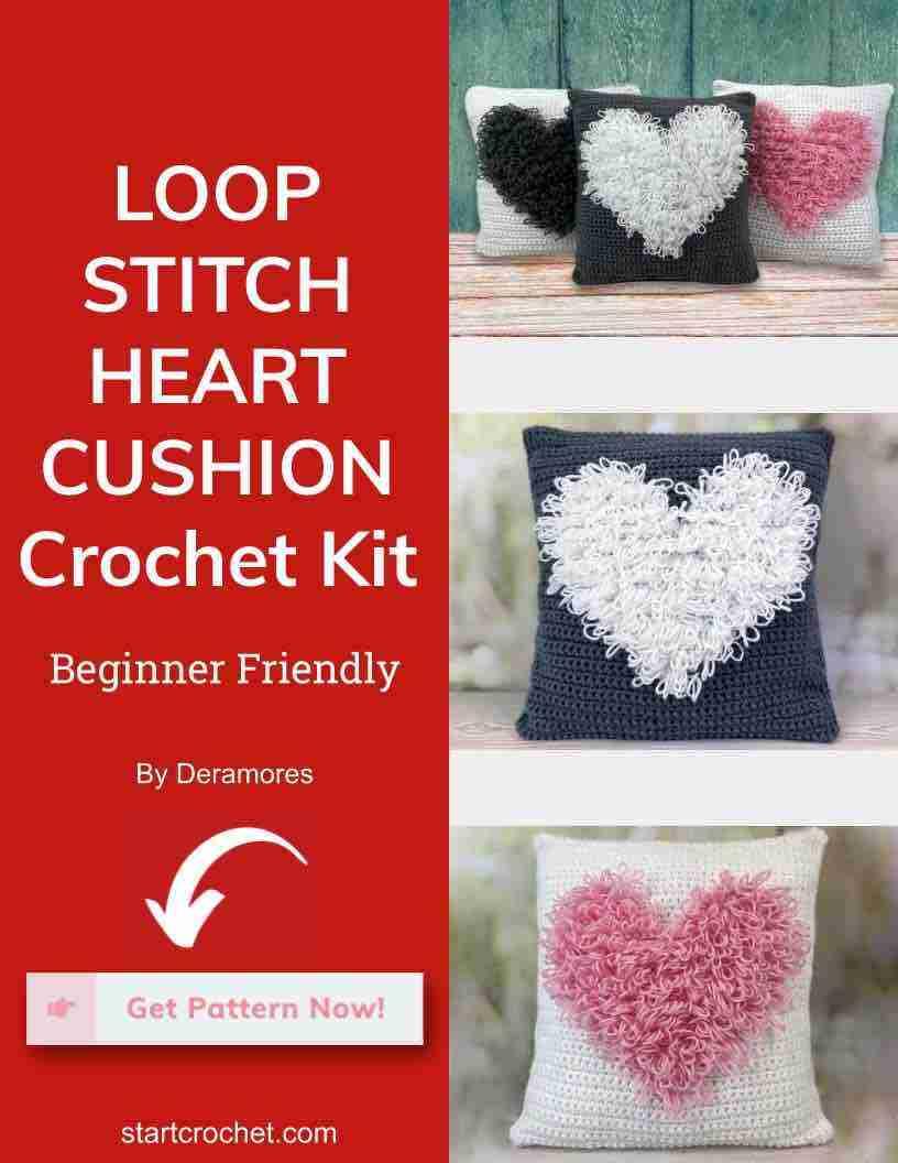 Loop Stitch Heart Cushion Crochet Kit Start Crochet