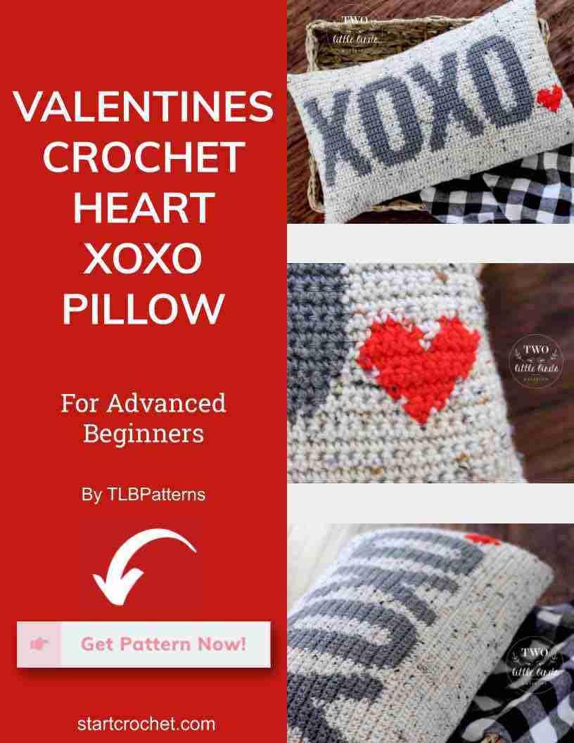 Valentines Crochet Heart Xoxo Pillow Start Crochet